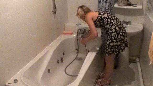Angelic Blonde Beginner Voyeur Cutie Marina Washing Cavernous Gash In Bathtub Bath Within The Secret Agent Digicam