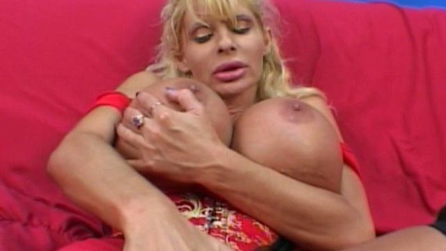 Insatiable Blonde Milf Misty Knights Touching Her Large Coconuts With Lust