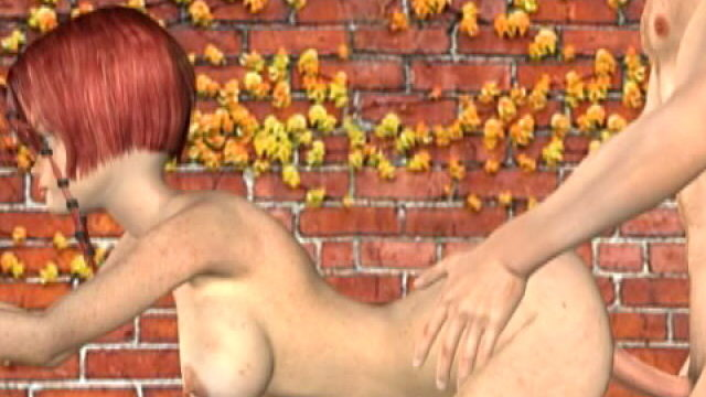 Lustful Redheaded 3-d Female Friend With Massive Milk Wagons Misty Will Get Carved Puppy On The Wall