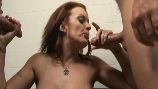 Monica Mayhem Is Helping Those Two Rock Exhausting Dicks Cum