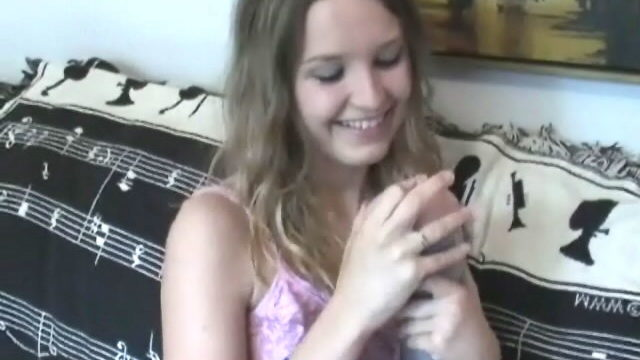 Brown Haired Cute Teen Kitty Kim Performs With A Pretend Vagina Within The Bed Room