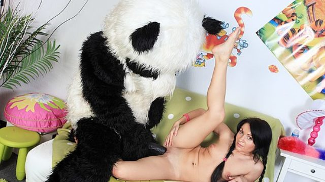 Attractive Chick Fucks With Large Plush Bear