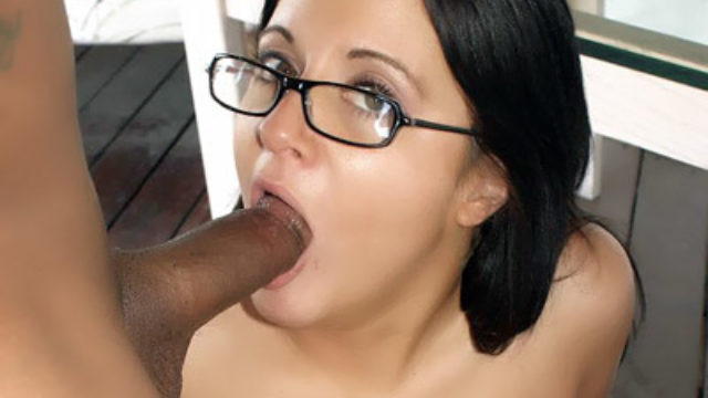 Horny Ms With Glasses Sucking A Black Cock