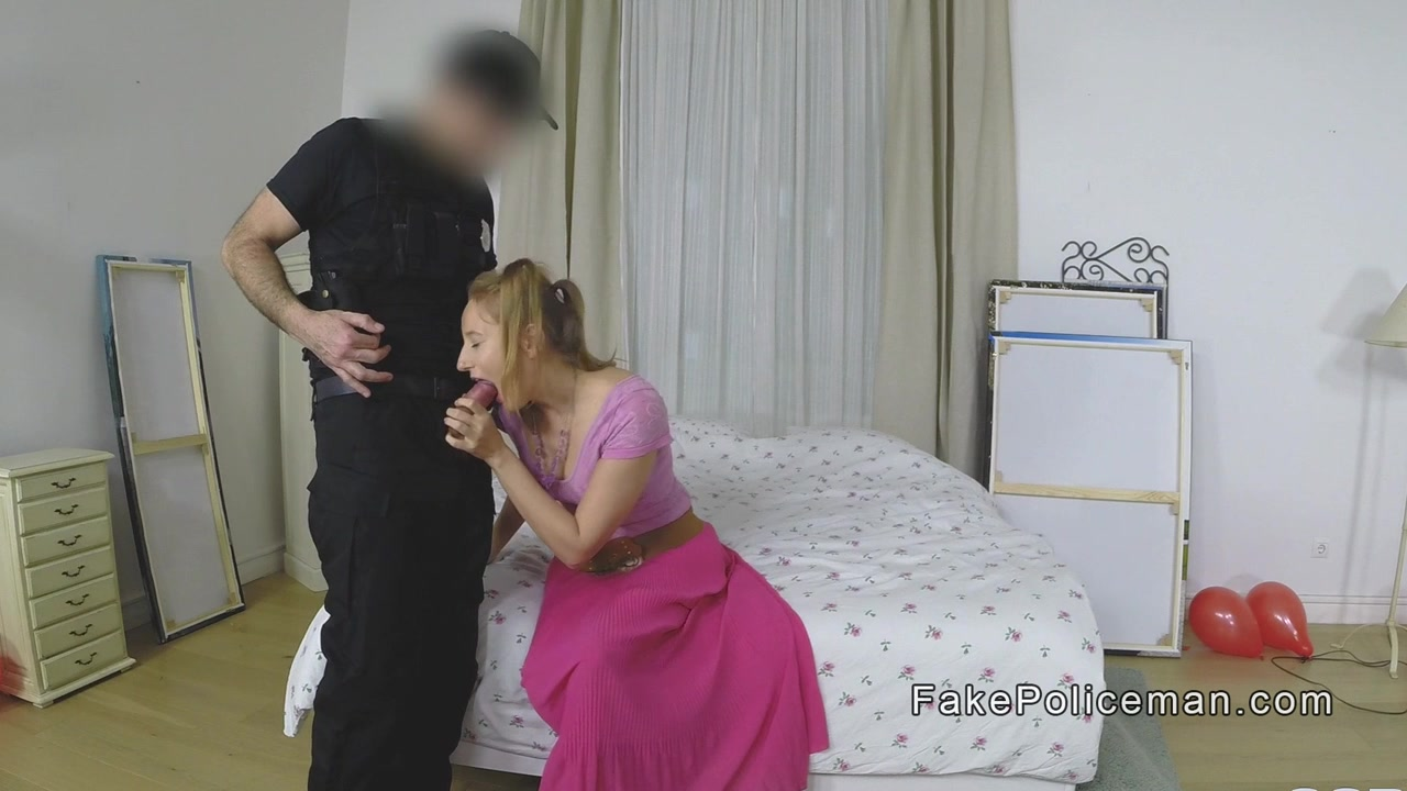 Ash-blonde In Rosy Socks Pokes Faux Cop