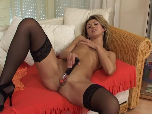 Sensuous Light-haired Damsel In Tights Ravaging A Meaty Plaything At The Sofa