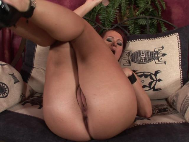 Successful Wifey With Fat Hooters Massaging Her Butt And Railing A Big Fake Penis