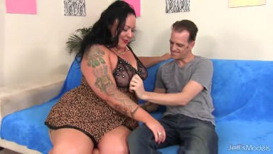Inked Bbw Calista Roxxx Porks A Thin Man Till He Spunks On Her Face