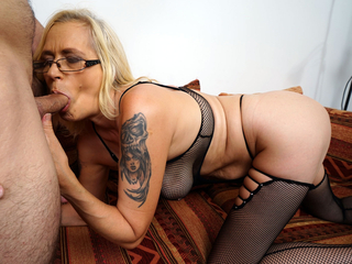 Ash-blonde Mature Will Get Porked In Fishnet Sundress